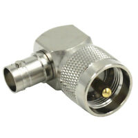 UHF PL259 PL-259 male to BNC female right angle RF adapter connector,silver Q4P4