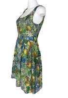 Portmans Size 8 Fit N Flare Lemon's & Florals Vintage Print 100% Cotton Scoop N