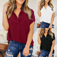 Women Ladies Summer Chiffon Solid Short Sleeve Casual Shirt Tops Blouse T-Shirt