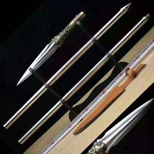 """L 59"""" Battle ready Overlord Spear pike lance pattern steel Spearhead blade #2319"""