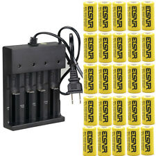 16340 CR123A 3.7V 2800mAh Rechargeable Li-Ion Battery 4 Slot Smart charger lot