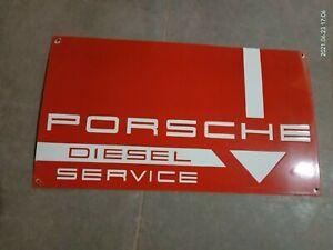 """Porcelain Porsche Diesel Service Enamel Sign Size 14"""" X 25"""" Inches"""