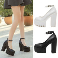Women Casual Round Toe Ankle Buckle Strap High Heel Platform Chunky Shoes New