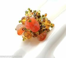 Natural Stone Cluster Stretch Women Ring Browns Glass Beaded Band