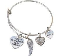 Memorial Bracelet, A Piece of My Heart is in Heaven Bangle Bracelet