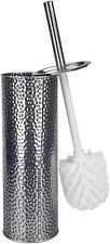 Hammered Stainless Steel Toilet Brush with Holder Easy Cleaning for Bathroom