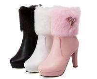 Womens Fashion Winter Ankle Boots Fur Line High Heel Platform Warm Shoes Winter