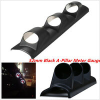 1Pc 52mm Auto A-Pillar 3 Triple Gauge Holder Mount Pod Bendable Black Universal