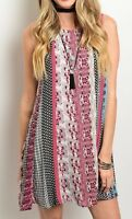 Burgundy Black Teal Paisley Stripe Sleeveless Mini Tunic Tank Shift Dress