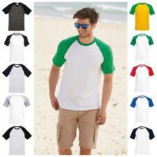 Mens Raglan Short Sleeve Baseball T-Shirt Top Casual Cotton Tee Jersey T Shirt