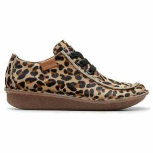 BNIB Clarks Unstructured Ladies Funny Dream Leopard Print Pony Hair Leather Shoe