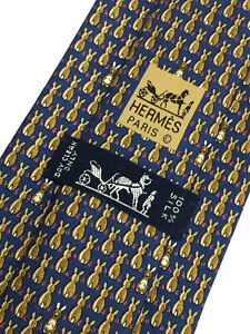 Authentic HERMES PARIS 7900 MA Back Rabbits Design On Blue 100% Silk Necktie Tie
