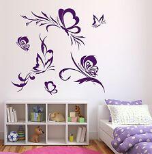 Wall Vinyl Sticker Flock Beautiful Butterflies Flying Around Flowers (n148)