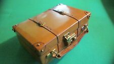 "Fine Antique English Small Leather/Brass Trim ""Suitcase"" Box/Case - with Key"