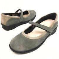 AETREX Women's Gray Suede Mary Jane's Wedge Orthopedic Comfort Shoes Sz 9 Eu41