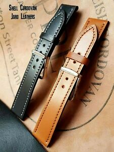 Watch strap with steel buckle, Luxurious Shell Cordovan strap , Hand Made
