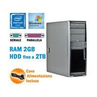 WORKSTATION HP XW4300 PENTIUM 4 RAM 2GB SERIALE RS232 PARALLELA XP GRADO B-