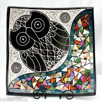 Hand Made Turquoise Owl Square Glass Mosaic Terracotta Bowl Plate New Home Gift