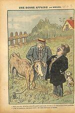 Caricature Antisémite Juif Abraham maquignon Vache Viande Cow Meat ILLUSTRATION