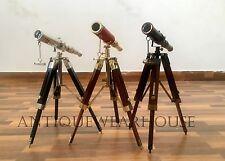 SET OF 3 Vintage Design Solid Brass Marine Pirate Spyglass Telescope With Tripod