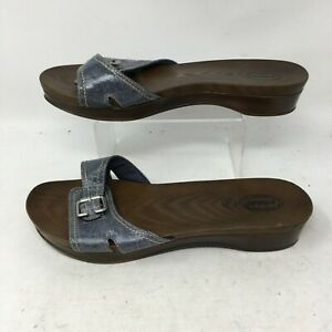 Dr. Scholls Advance Comfort Brown Blue Leather Buckle Slides Sandals Womens 10