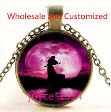 Vintage Princess Cabochon bronze Glass Chain Pendant Necklace TS-4888