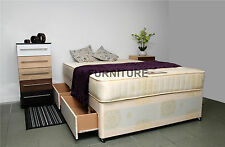 4ft6 Double Divan Bed With Storage and 25cm Deep Orthopaedic Mattress