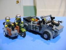 LEGO LOT #02 CUSTOM WW2 WORLD WAR 2 AXIS KUBELWAGEN SIDECAR 4 MINIFIGURES MP40