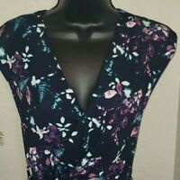 Robert Rodriguez Fitted Dress Size Small Floral Print Navy/Purple/Turquoise