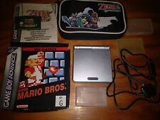 Silver Nintendo Game Boy Advance GBA Console 2 games Nes Mario Zelda: Minish Cap