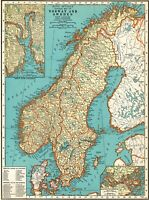 1937 Antique NORWAY & SWEDEN Map Vintage Map of Sweden Gallery Wall Art 7986