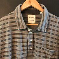 BILLY REID Men's Short Sleeve Polo Shirt sz XL Gray/Brown Striped