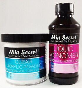 Mia Secret Liquid Monomer 4 oz and Mia Secret Clear Acrylic Powder 4 oz