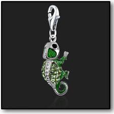 925 Sterling Silver Charm Chameleon clip on Swarovski Crystal 3D Charms Bracelet