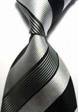 Hot! Classic Striped Black Silver JACQUARD WOVEN 100% Silk Men's Tie Necktie