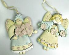 Happy Angel Fairies Flowers & Hearts Hanging Ornaments Ceramic Resin Pink Blue