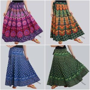 Womens Wrap Skirt One size Patchwork Wrap Around Long Cotton Skirt