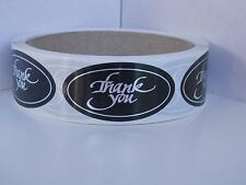 THANK YOU 1x2 oval  Stickers Labels bright silver letters black bkgd 250/rl