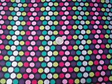 Glittery Clored Polka Dots on Black Flannel Fabric