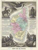 GEOGRAPHY MAP ILLUSTRATED ANTIQUE LEVASSEUR CORSICA POSTER ART PRINT BB4369B