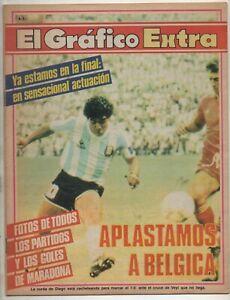 DIEGO MARADONA ON COVER EL GRAFICO MAGAZINE ARGENTINA VS BELGIUM WORLD CUP 1986