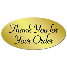 """Thank You for Your Order"" Oval Stickers 2"" x 1"", Roll of 500 Seals"