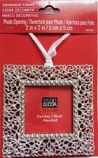 Christmas Tree Ornament Photo Picture Frame Decoration Silver Filigree NEW
