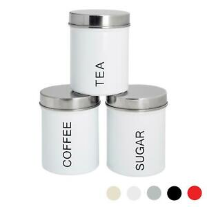3x Tea Coffee Sugar Canisters Storage Set Kitchen Jars Containers Metal White