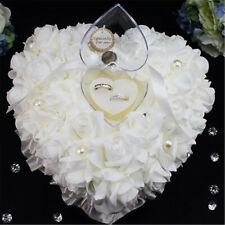2019 Wedding Ceremony Ivory Satin Crystal Flower Ring Bearer Pillow Cushion UK