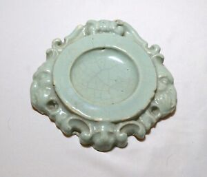 rare antique 19th century Chinese green celadon pottery teapot stand dish tray