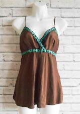 Warehouse 100% Silk Boho Brown Cami Top Size 8