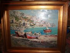Large oil Painting of the Mediterranean Coast with boat on rocky harbor Vladimir
