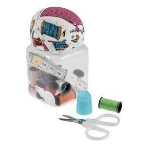 Sewing Kit  in Jar With Pin Cushion. Great Sewing Pincushion Gift.