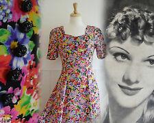 Vestido De Verano década de 1930 años 40 Estilo Renacimiento Floral Crepe Revival Vintage 10 De Alto